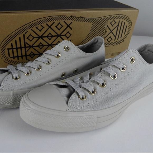 Converse Chuck Taylor Lo Sneakers Grey & Gold NIB NWT